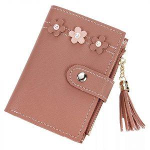 Dompet Coklat dengan aksesori bunga berukuran mini cukup untuk koin dan kartu