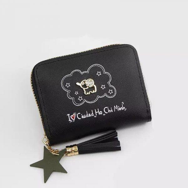 dompet mini warna hitam dengan gambar gajah mini warna emas