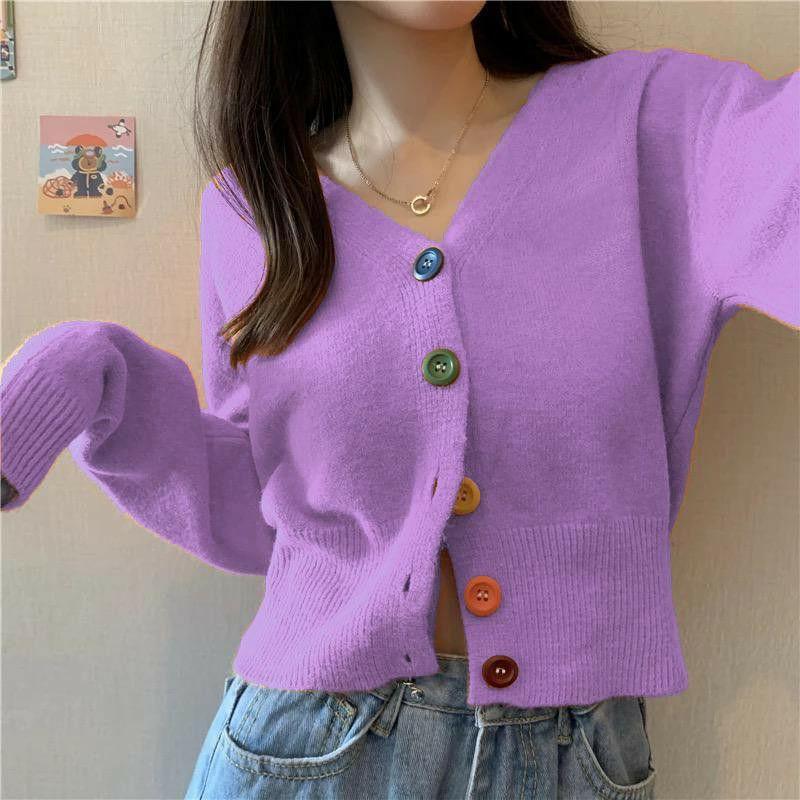 ini adalah Rajut Kancing Pelangi Lavender, size: L, material: Knitt, color: Purple lavender, brand: Rajut cardy indonesia, age_group: all ages, gender: female