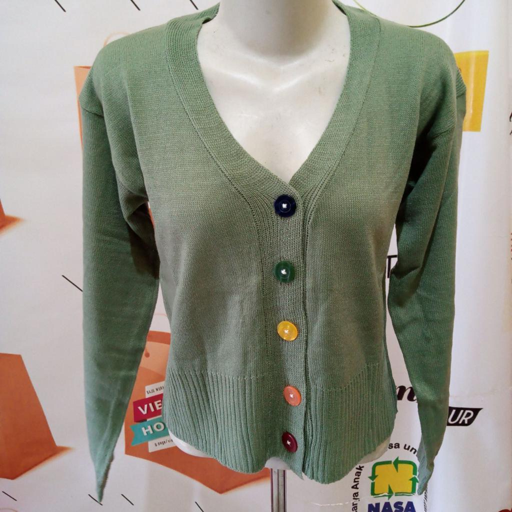 ini adalah Rajut Kancing Pelangi Mint, size: L, material: Knitt, color: Green mint, brand: Rajut cardy indonesia, age_group: all ages, gender: female