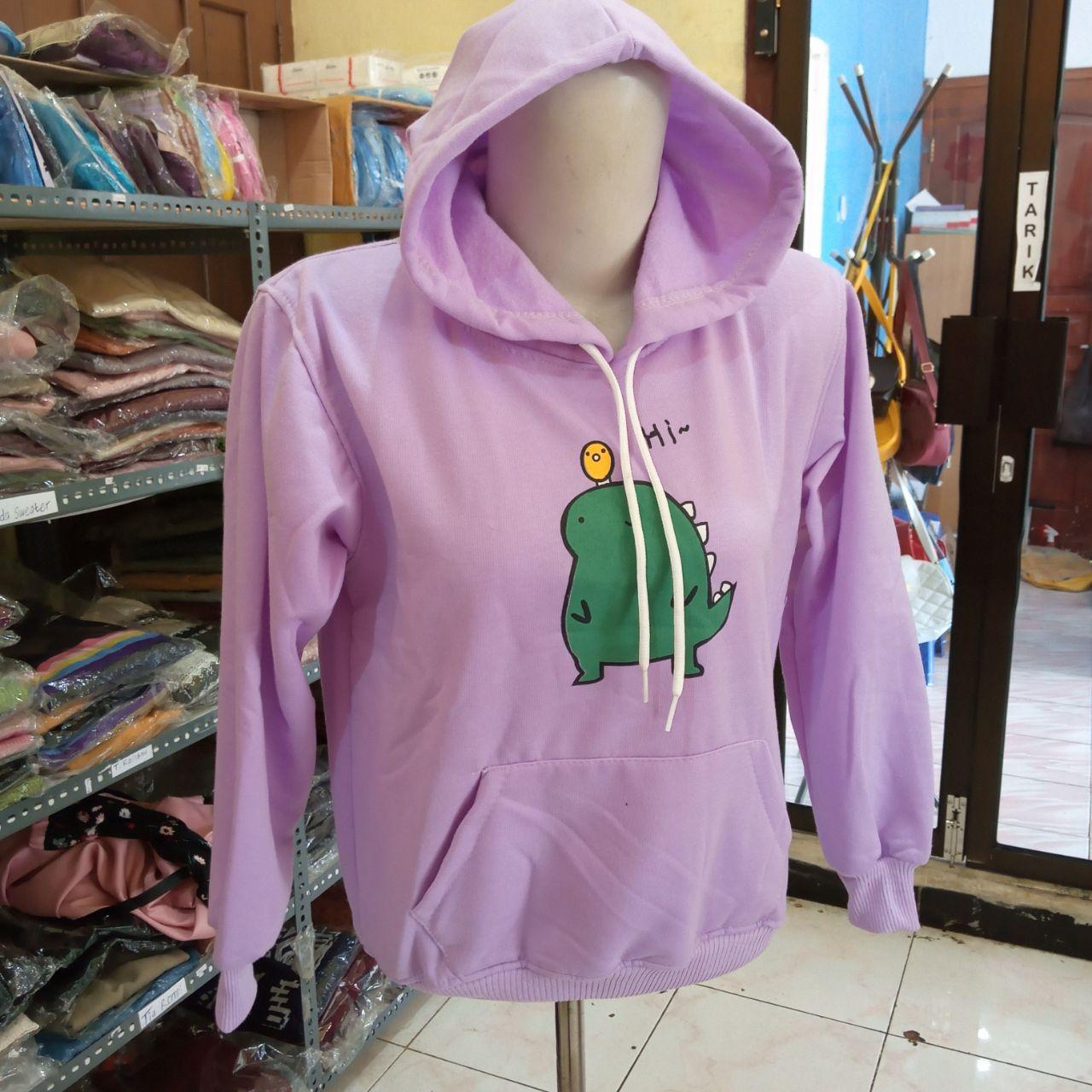 ini adalah Jaket Anak Dinosaurus Lilac, size: LD +- 78cm, material: Fleece, color: Purple, brand: JaketAnakIndonesia, age_group: kids, gender: unisex