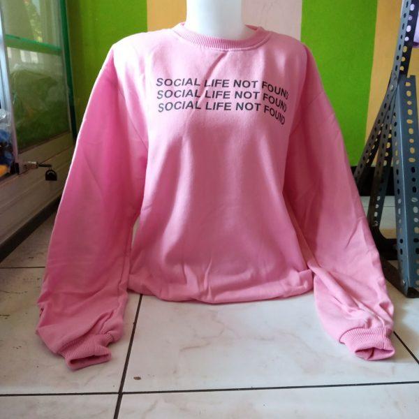 ini adalah Sweater Sosial Pink, size: LD 90cm, Panjang 60cm, material: Fleece, color: Pink, brand: jaketindonesia, age_group: all ages, gender: female